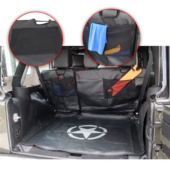 WISENGEAR Car Back Full Seat Cover Protector With Storage Bag Tool Luggage Cargo Gadget For Jeep Wrangler JK 2007-2017 Pet Mat 1