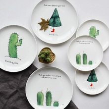 Dinner Plates Cartoon Cactus Printed 8*inch Bone China Cake Dishes Plate Porcelain Pastry Fruit & Buy ceramic plate printing and get free shipping on AliExpress.com