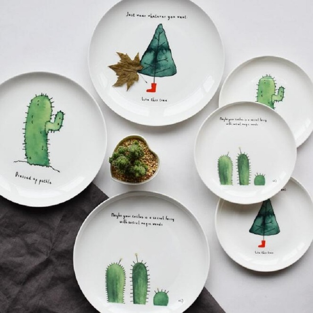 Dinner Plates Cartoon Cactus Printed 8*inch Bone China Cake Dishes Plate Porcelain Pastry Fruit & Dinner Plates Cartoon Cactus Printed 8*inch Bone China Cake Dishes ...