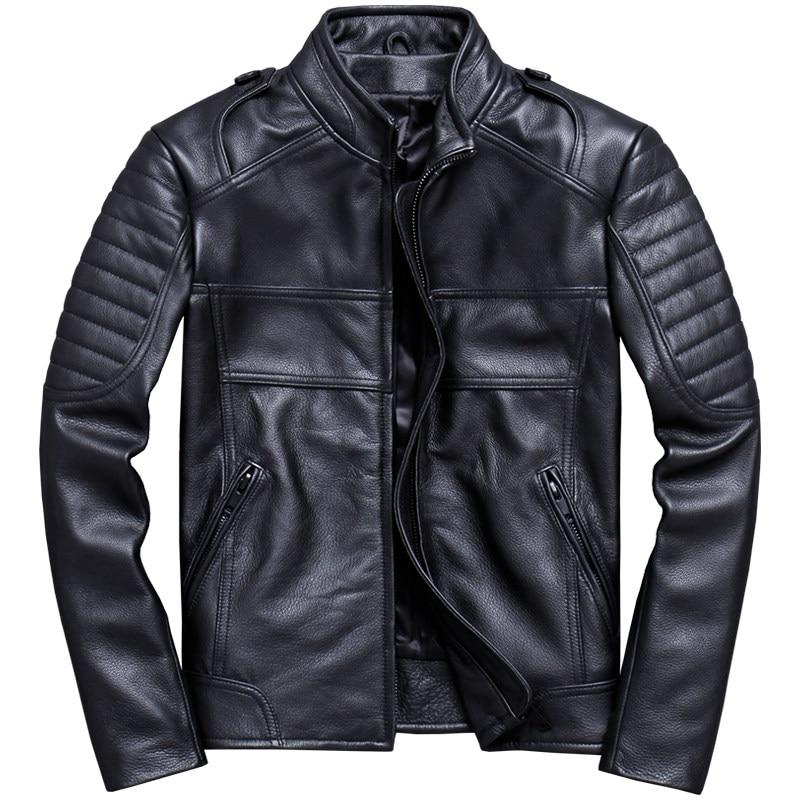 Jacket Biker's-Coat Motorcycle Genuine-Cowhide XXXL Stand Short Black Collar Slim Plus-Size