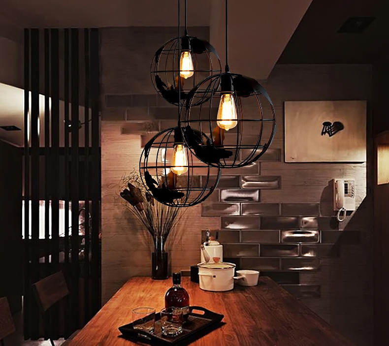 Loft Style Iron Globe Droplight Industrial Vintage Pendant Light Fixtures For Dining Room Hanging Lamp Indoor Lighting In Wall Lamps From Lights