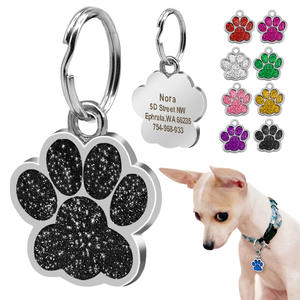 Dog-Id-Tag Tag-Plate Pet-Accessories Collar-Decoration Rhinestone Name Foot-Print Small-Dogs
