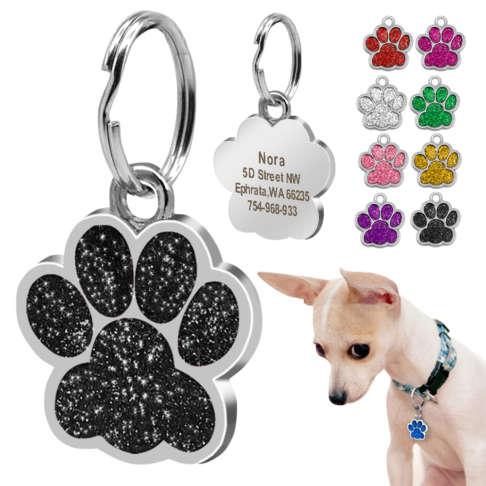 Dog ID Tag Personalized for Small Dogs Customized Rhinestone font b Pet b font Accessories Paw
