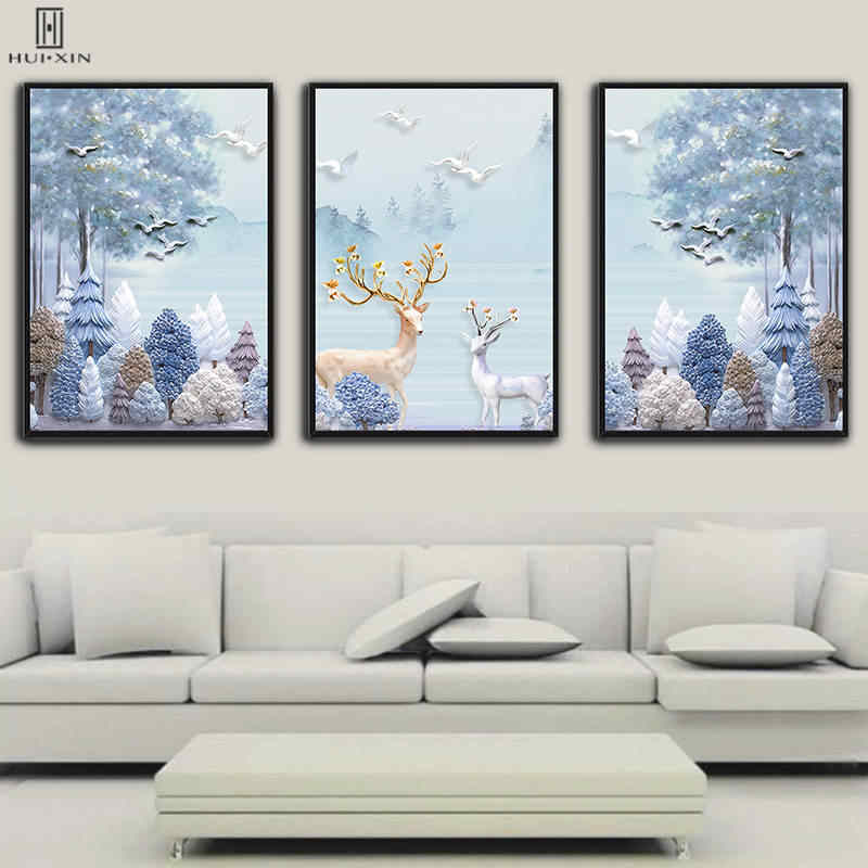 Dreamland Landscape Pink White Woods Two Mother-son Deers Canvas Painting And Poster Wall Art Print For Living Room Decor