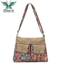 Black Butterfly original design Ethnic Style Canvas Print Flower Female Casual Shoulder Bag Women Vintage Messenger