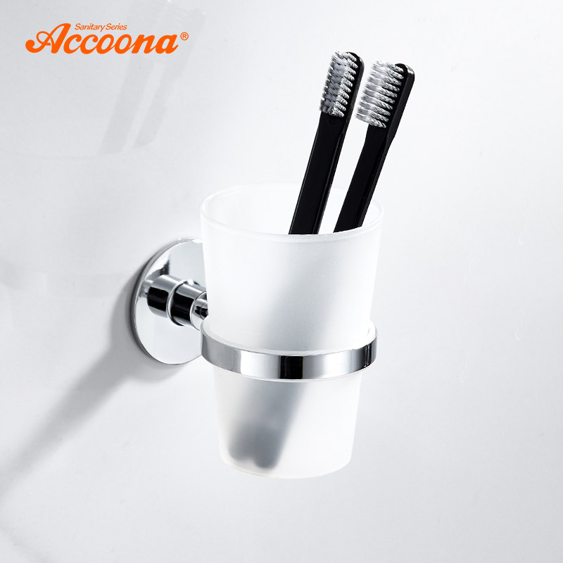 Accoona Bath Toothbrush Tooth Cup Holder With Glass Cup Wall Mounted Bath Single Cup Rack Bathroom Accessories A11903