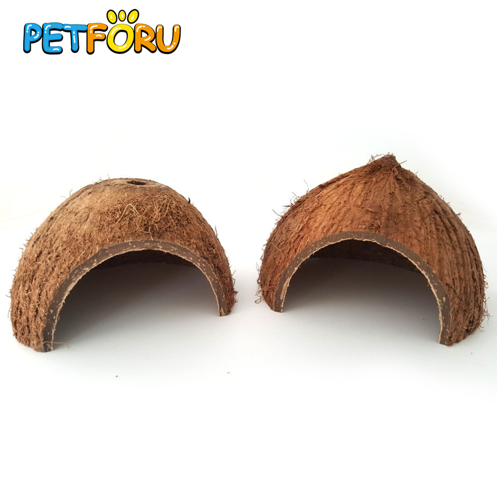 Petforu Natural Coconut Shells To Avoid Caves Escape House Reptile To Avoid House Escape The Cave Hide Cave For Aquarium