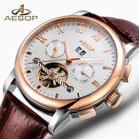 AESOP Men Watch Men Automatic Mechanical Wrist Wristwatch Fashion Leather Golden Gold Male Clock Waterproof Relogio