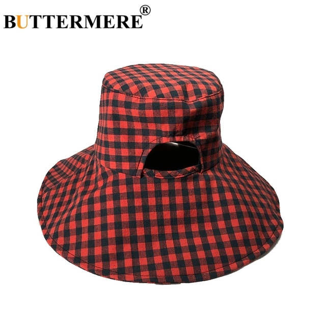 c1931e3681795 BUTTERMERE Red Bucket Hat Ladies Plaid Cotton Fishing Caps Women Checkered  Wide Brim Casual Tartan Uv Autumn Sun Hat Pink Khaki