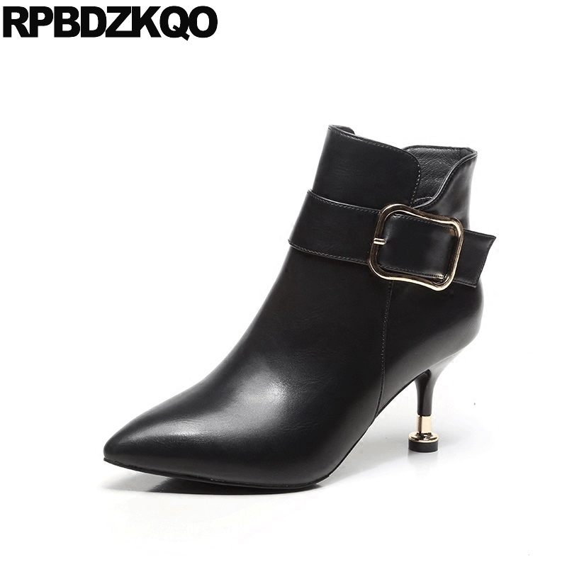 Pointy Booties Stiletto Sexy Fashion Ladies Short Ankle Side Zip Boots New High Heel Pointed Toe Shoes Fur Zipper Metal Black booties warm shoes winter round toe side zip boots brown real fur flat casual ankle female new ladies 2017 chinese fashion short