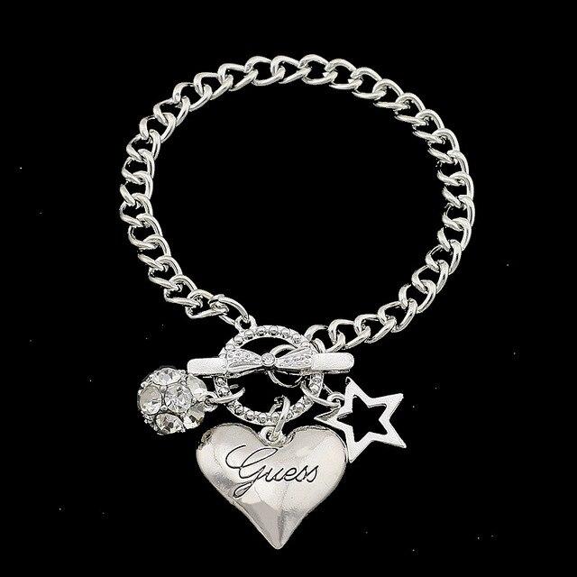 Hot Sale Love Heart Charms Bracelets For Women Gold Silver Color Bileklik Bracelet&Bangle Jewelry Europe American Style Jewelry