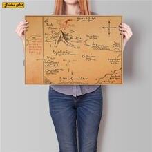 O velho dos anéis solitário montanha mapa filme vintage papel kraft cartaz retro pintura retro bar cafe adesivo de parede 45.5x31cm