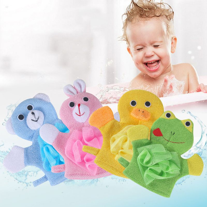 Children Free Bath Towel Double-sided Flower Wipe Two In One Gloves Cute Cartoon Back Artifact Soft Bath Glove