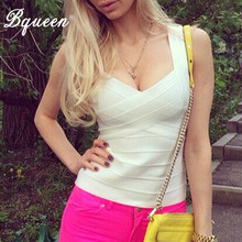 Bqueen New Sexy Women Summer V-Neck Bandage Tank Top Black White Red Fashion Spaghetti Strap Elastic Crop Top Vestidos 2019(China)