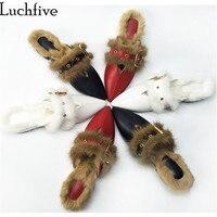 Luchfive שעיר פרווה ארנב נשים למעלה איכות נעליים שטוחות הבוהן מחודדת נשים נעלי חורף חיצוני ופרס lazy כפכפים פרדות