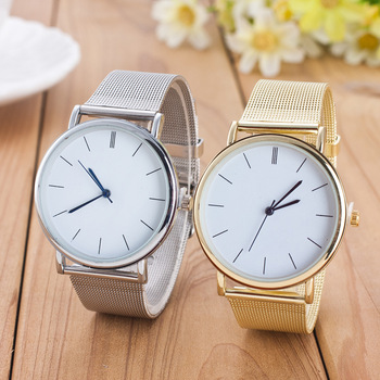 Gold Silver Mesh Stainless Steel Dress Women Watches