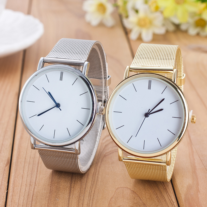 Dropship 2018 Famous Brand Gold Silver Casual Quartz Watch Women Mesh Stainless Steel Dress Women Watches Relogio Feminino Clock
