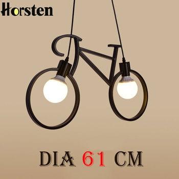 Horsten Nordic Creative Bicycle Iron Pendant Light E27 Edison Bulb Black White Bike Droplight Children Room Bedroom Pendant Lamp