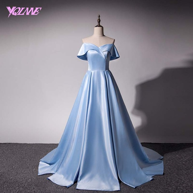 YQLNNE 2018 Sky Blue Long Prom Dresses Off the Shoulder Evening Party Dress Satin Gown