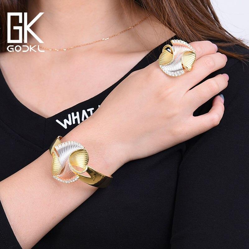GODKI New Trendy 3 Tone Geometry Luxury Cubic Zirconia Chic Bangle Ring Sets For Women Wedding
