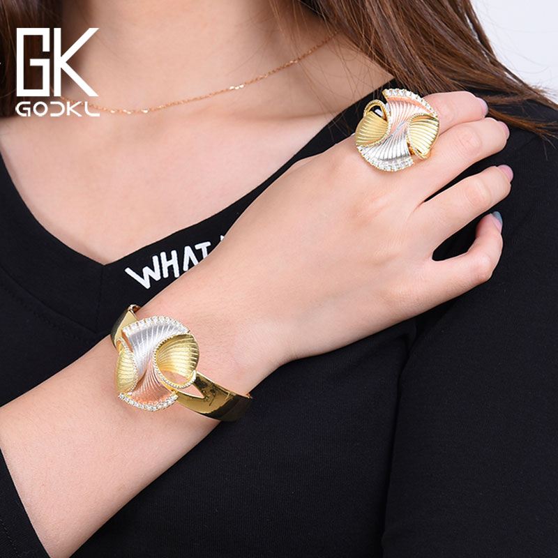 GODKI New Trendy 3 Tone Geometry Luxury Cubic Zirconia Chic Bangle Ring Sets For Women Wedding Dubai Bridal Jewelry Sets 2018GODKI New Trendy 3 Tone Geometry Luxury Cubic Zirconia Chic Bangle Ring Sets For Women Wedding Dubai Bridal Jewelry Sets 2018