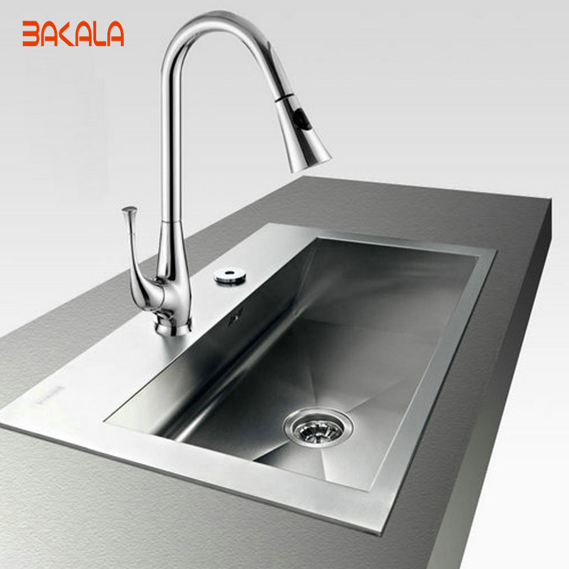 BAKALA contemporary Torneira Cozinha single lever Pull out spray swivel kitchen faucet  LH-8082