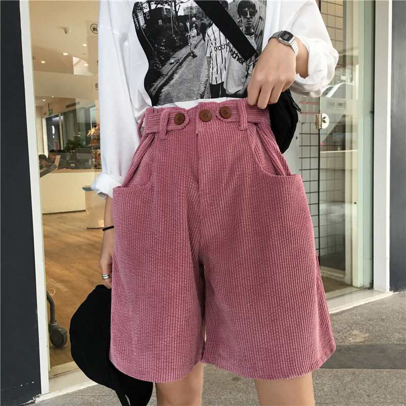 Loose Midi High Waist Corduroy Women Shorts White Pink Casual Straight Short Femme Womens Shorts Harajuku Plus Size Shorts C5582