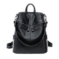 New European Style Women Rivet Backpacks Casual Nylon And Pu Leather Back Pack Big Girl School