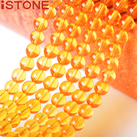 ISTONE 6MM Natural Stone Synthetic Citrine Round Beads 16 Inch Pick Size Strand For Jewelry Making