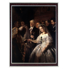ФОТО needlework craft home decor 14ct unprinted embroidery french dmc quality counted cross stitch kit oil painting unequal marriage
