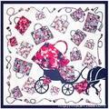 90 cm * 90 cm padrão de Estilo Da Marca Grande saco de transporte lenço de seda das mulheres lenços de cetim de luxo de turismo