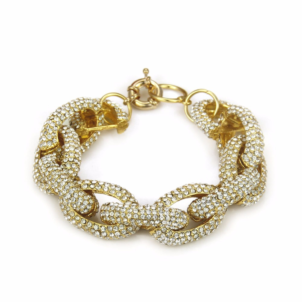 Fashion Crystal Studded Rhinestone Paved Link Chain Bracelet rhinestone studded chain necklace