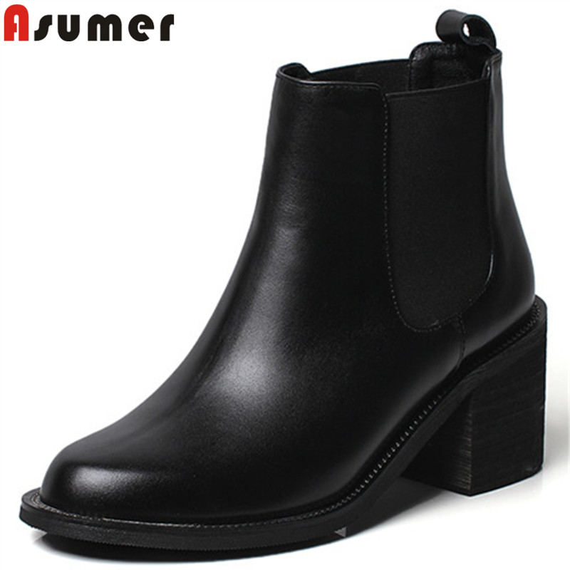 ASUMER black fashion autumn winter boots round toe ankle boots for women thick high heeks genuine leather boots 2018 newASUMER black fashion autumn winter boots round toe ankle boots for women thick high heeks genuine leather boots 2018 new