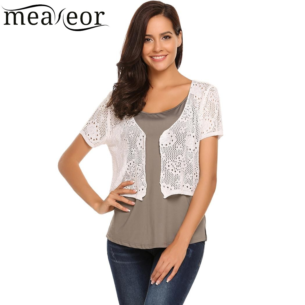 2b70f24362e2e Meaneor Floral Hollow Out Short Cardigans Shrug Front Open Short Women  Bolero Tops Black white Casual Outwear Cardigan Clothes-in Cardigans from  Women s ...