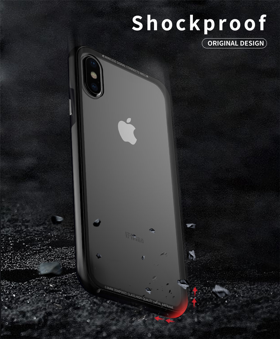 Luxury Aluminum Phone Cases For iPhone X Original R-just Hardness Tempered Glass Cover Case For iPhone X 10 Accessories (4)