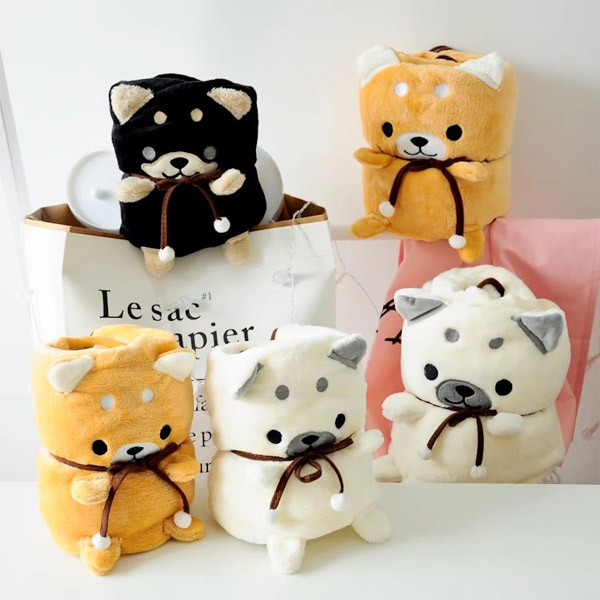 Candice guo! cute plush toy cartoon shiba dog puppy soft roll blanket air condition blanket creative birthday Christmas gift 1pc cartoon dog plush pillow shiba inu toys for children gift contain plush flannel blanket bedroom cushion