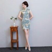 Shanghai Story Faux Silk Chinese Oriental dress Chinese Women's Clothing Short Cheongsam Qipao 2018