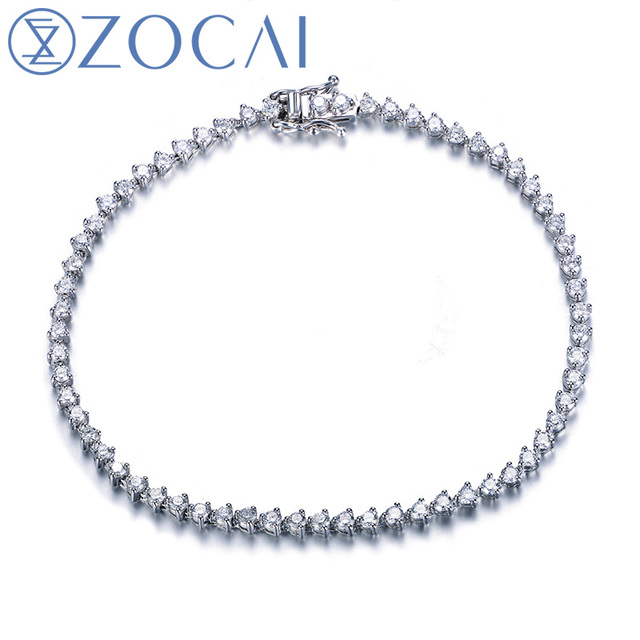 ZOCAI 1.8  CT natural genuine diamond 18K white gold bracelet fine jewelry S00113