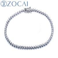 ZOCAI Style Bracelet 1.8 CT naturel véritable diamant 18 K or blanc bracelet fine jewelry S00113