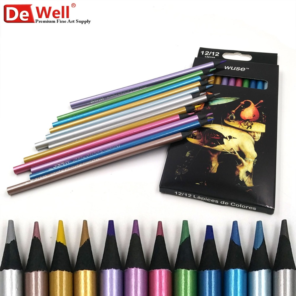 12 METALLIC COLOURED PENCILS DRAWING SKETCHING TONES SHADES ART ARTIST PICTURE