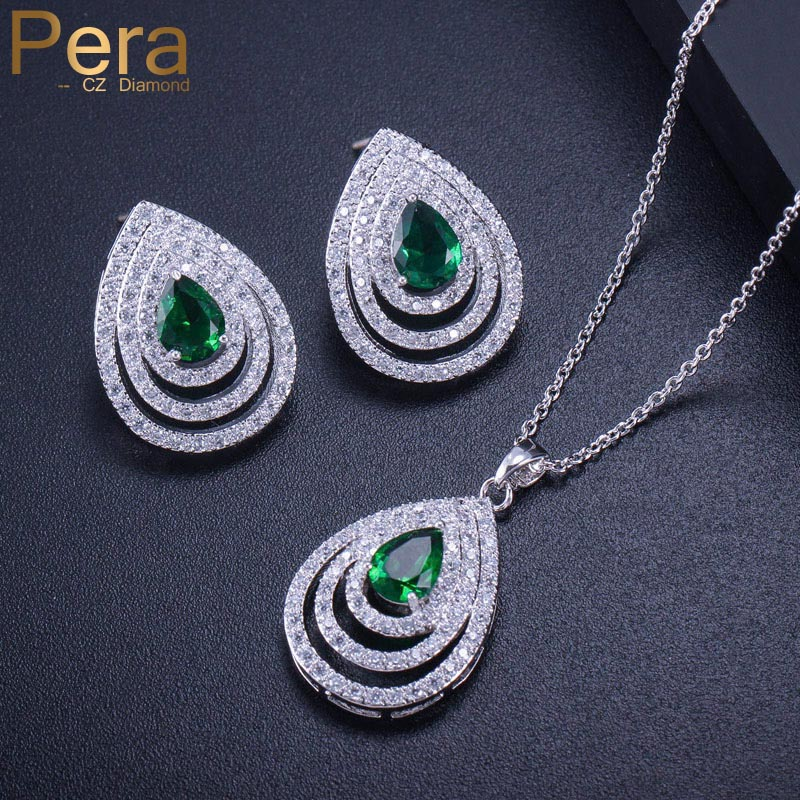 Pera Elegant Summer Prom Party Jewery Accessories Big Waterdrop Cubic Zirconia Green Pendent Necklace Earring Set For Women J268