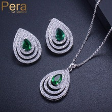 Pera Elegant Summer Prom Party Jewery Accessories Big Waterdrop Cubic Zirconia Green Pendent Necklace Earring Set For Women J268 цена и фото
