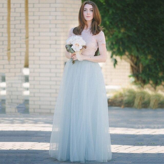 Gray Blue Summer Tulle Skirts Girl Women Long Tulle Skirt Customized ...