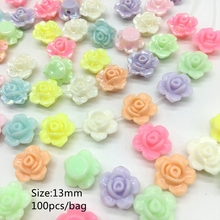 Meideheng Acrylic flower shape beads for Jewelry making Flat bottom surface color rose Children's toys beading 13mm 20mm two siz