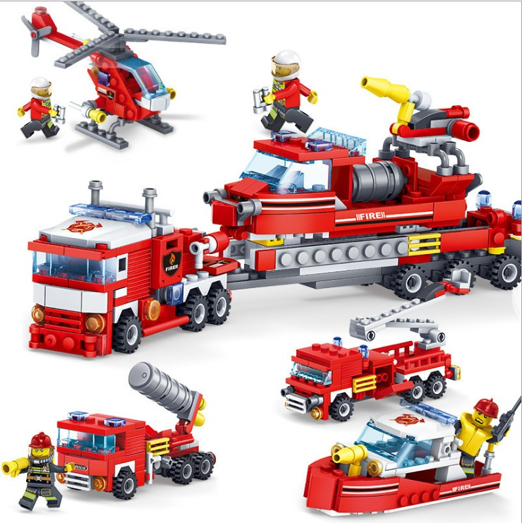 цена на 4IN1 Fire Fighters Bricks KAZI 348Pcs City Fire Fighting Car Helicopter Boat Building Blocks Sets Ship Toys for Children 80512