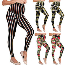 Maternity Pencil Pants Skinny Trousers pregnancy clothes Seamless Printing Pants leggings for pregnant