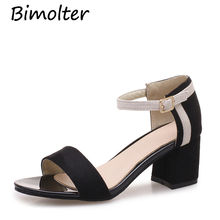 Bimolter 2018 Ankle Strap Cover Heel Women Sandals Summer Mixed Color Shoe Open Toe High Party Dress Ladies PSEB006