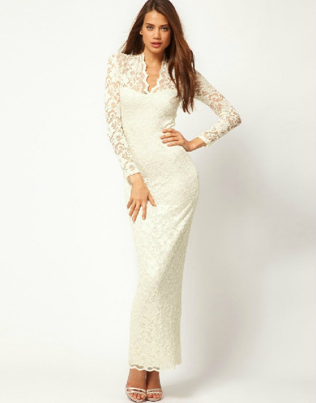 White Lace Women Plus Size Dress Spring Fashion Ladies Party Chiffon ...