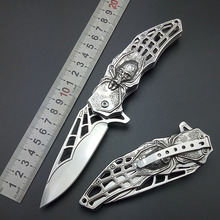 Folding training hunting knife Silver Spider knives survival Fold blade knife Outdoor gear EDC Pocket Knife evil xmas gift tools