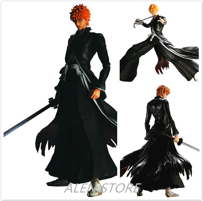 ALEN 26cm Play Arts Kai Bleach Kurosaki Ichigo Japanese Anime Figures One Piece Action Pvc Model Collection For Girls Kids Lover play arts kai bleach kurosaki ichigo pvc action figure collectible model toy 27 5cm